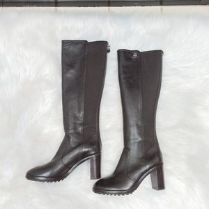 Tory Burch dark brown leather heeled tall boots